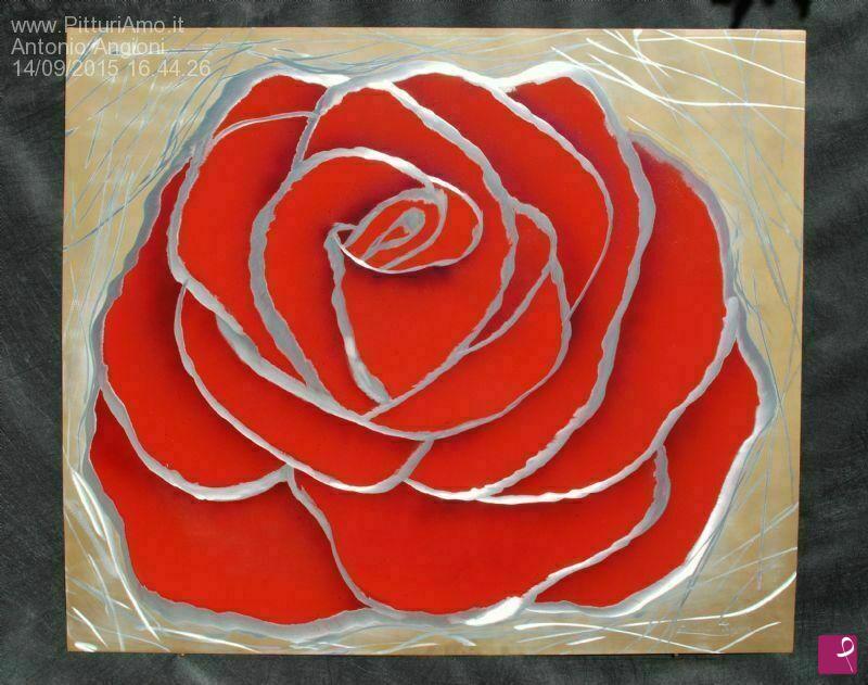 Vendita quadro rosa rossa antonio angioni pitturiamo