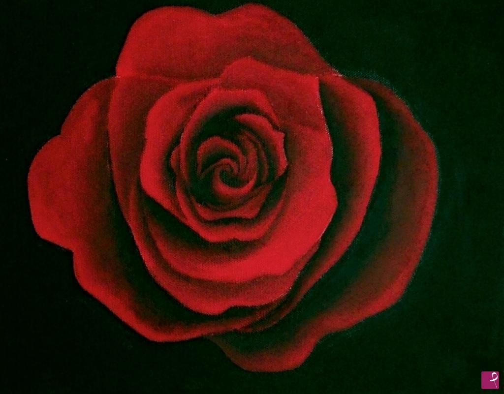 Vendita quadro rosa rossa nulladiinteressante pitturiamo