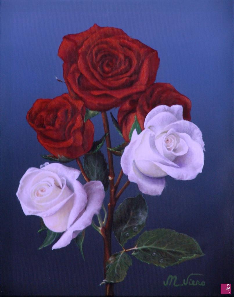 Vendita quadro rose rosse e bianche maurizio viero for Quadri con rose rosse