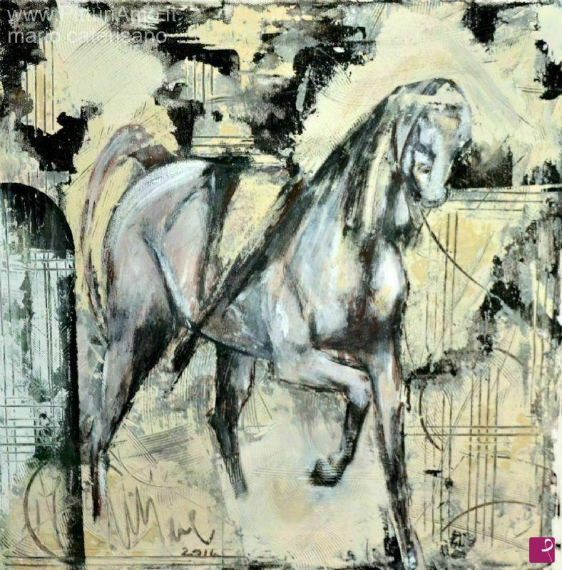 Vendita quadro - studio di cavallo con calesse - Minè | PitturiAmo®