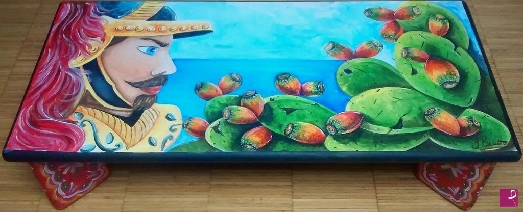 Vendita quadro tavolino siciliano dipinto a mano for Quadri dipinti a mano paesaggi