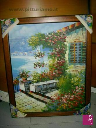 Vendita quadro   quadro pirografo paesaggio alpino e borgo rustico ...