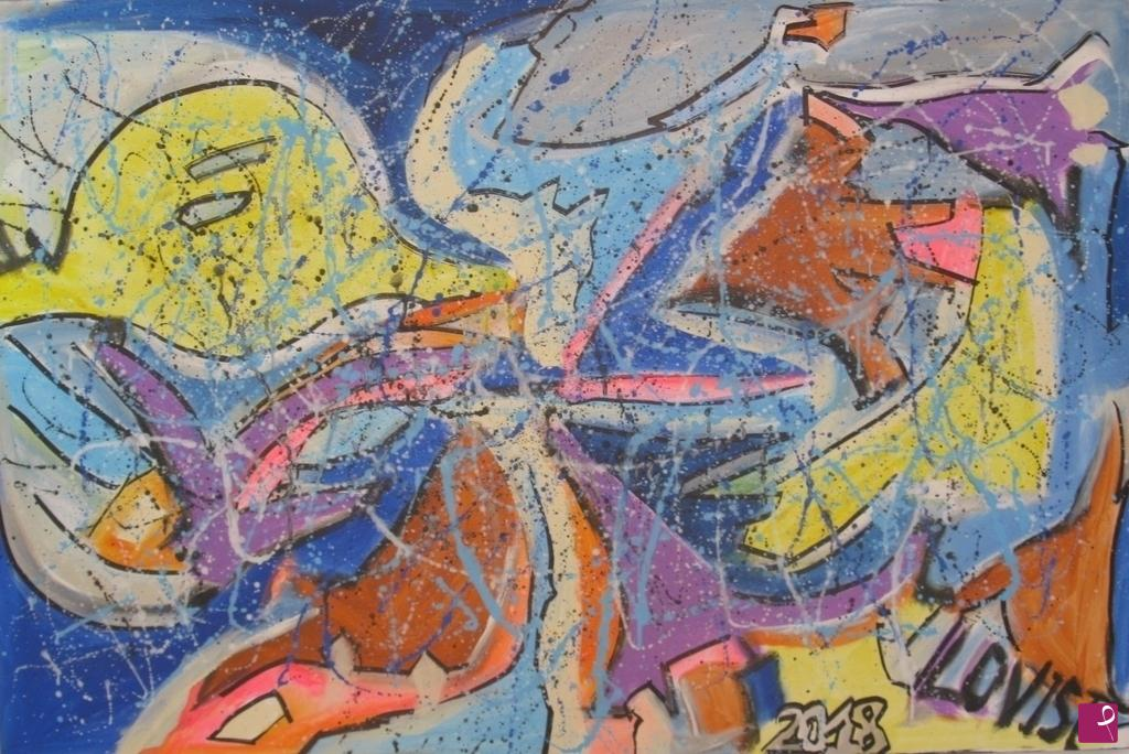 Quadro su tela colore astratto con bolle trasparenti e gocce