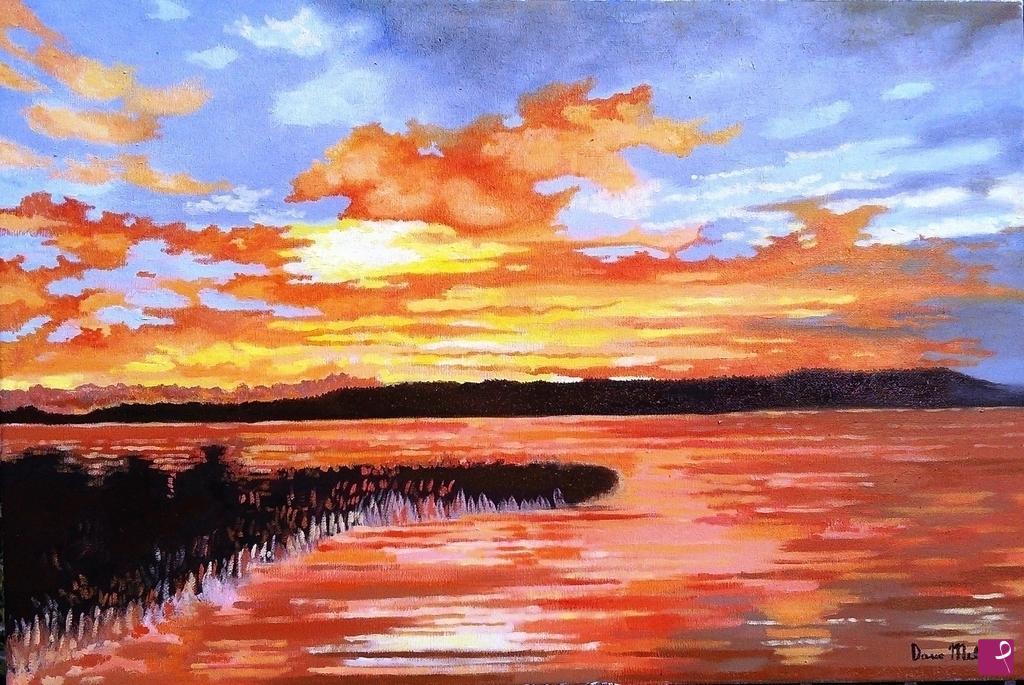 vendita quadro tramonto astratto quadro moderno olio
