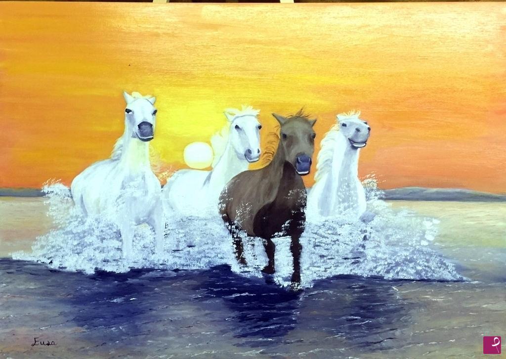 Vendita quadro - Tramonto con cavalli - Enza Lombardi | PitturiAmo®
