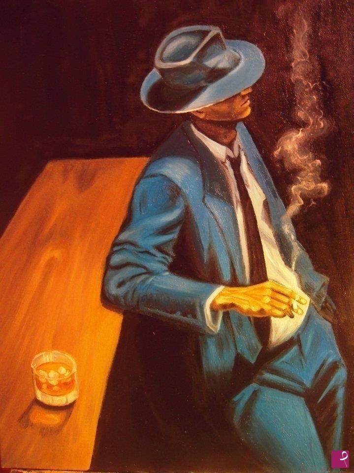 quadri in vendita online , Uomo con cappello