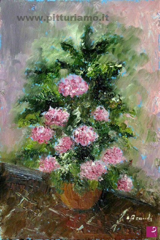 Vendita quadro vaso con fiori bramby pitturiamo for Fiori ad olio
