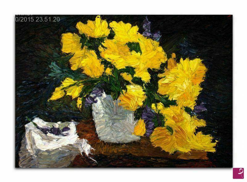 Vendita quadro - Vaso con fiori gialle, quadro moderno originale ...