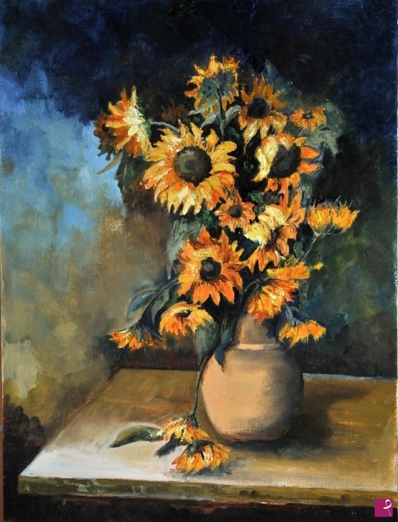 Vendita quadro - Vaso con girasoli - Franco Volpi | PitturiAmo®