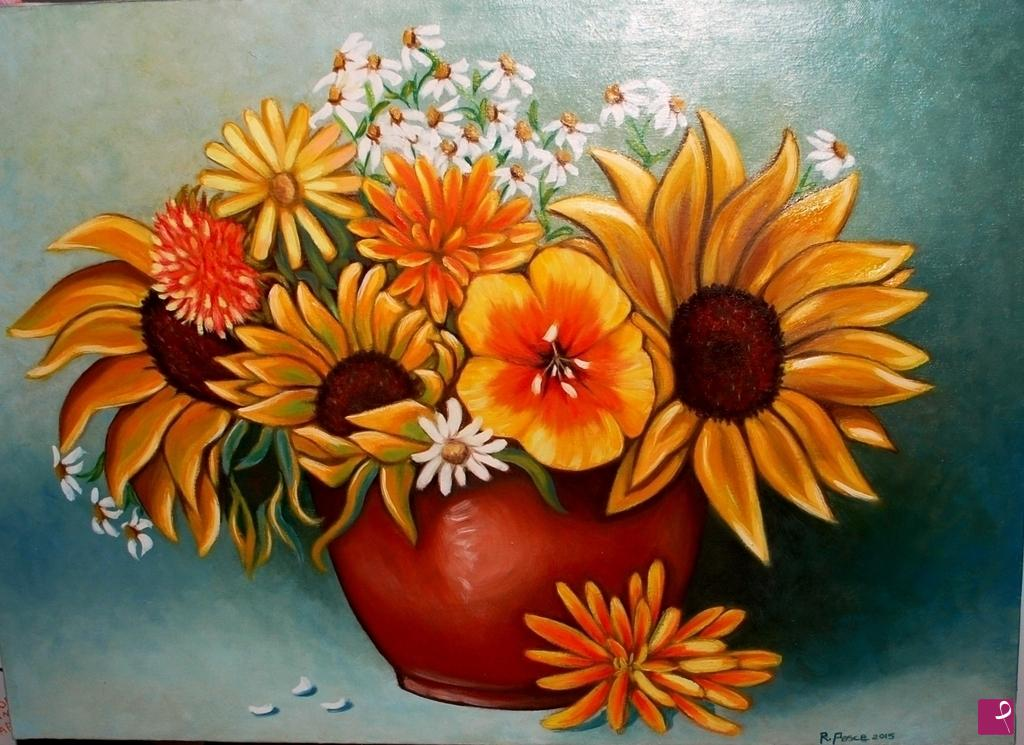 Vendita quadro - Vaso con girasoli - Roberta Pesce | PitturiAmo®