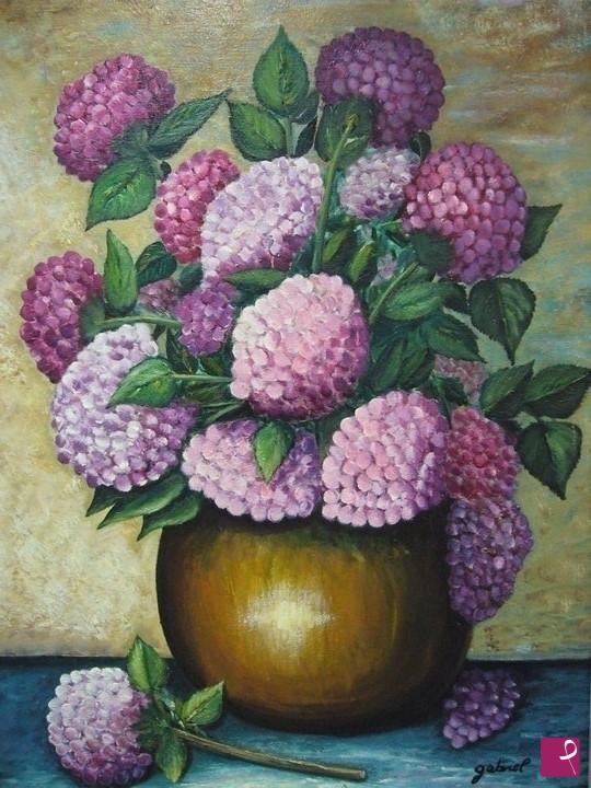 Quadri Con Ortensie : Vendita quadro vaso con ortensie pittore gabriel