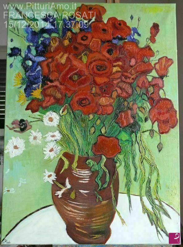 Vendita quadro - vaso con papaveri e altri fiori di campo ...