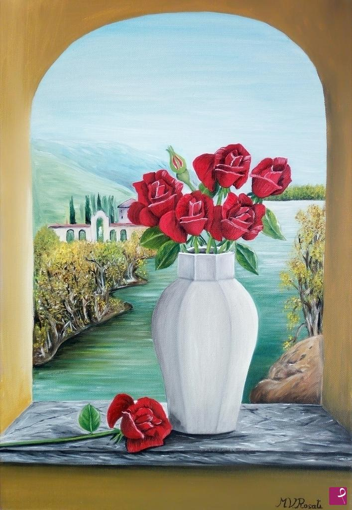 Vendita quadro vaso con rose rosse maria vittoria for Quadri con rose rosse