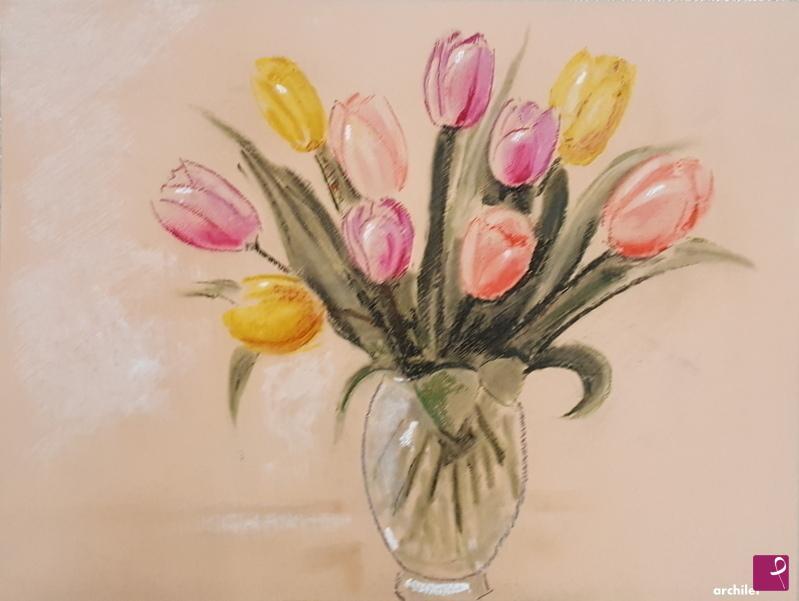 Vendita quadro - vaso con tulipani - Paolo Archilei | PitturiAmo®