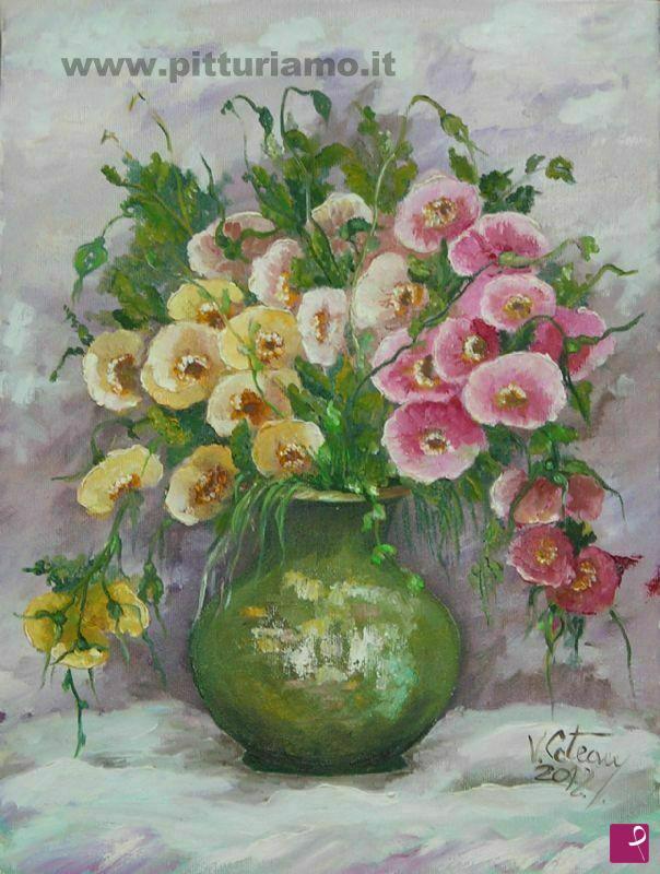 Vendita quadro vaso di fiori violeta coteanu pitturiamo for Quadri a olio fiori