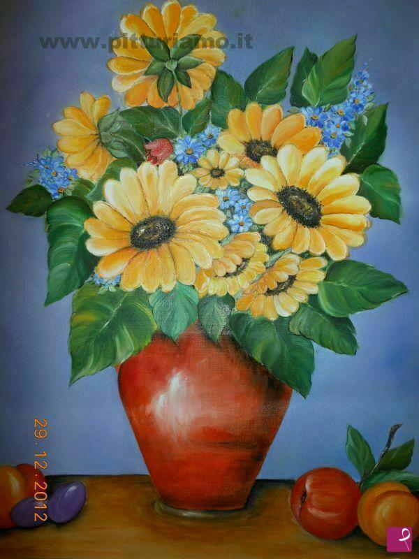 Vendita quadro vaso di fiori silvia perrone pitturiamo for Quadri fiori famosi