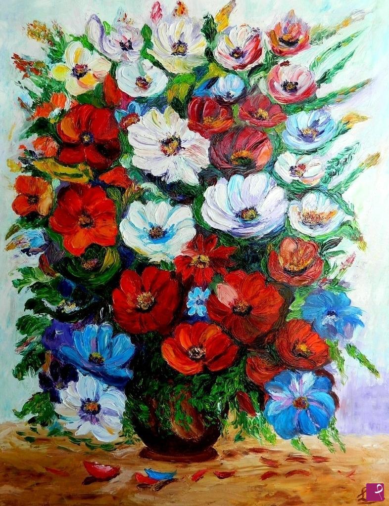 Vendita quadro vaso di fiori federica e loris for Quadri a olio fiori
