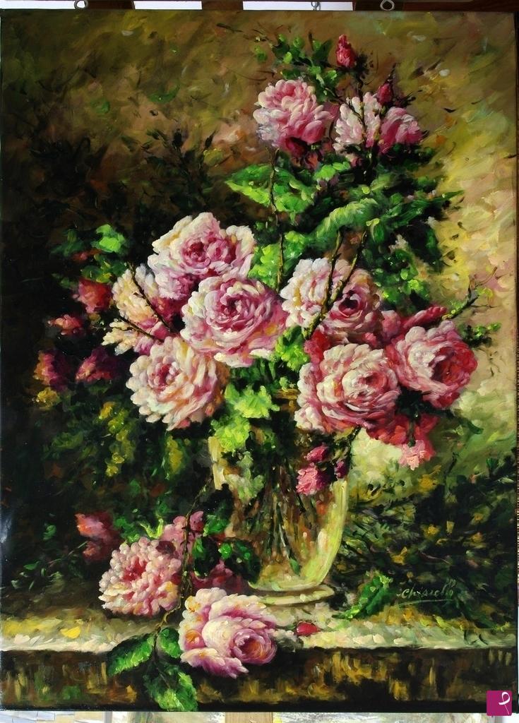 Vendita quadro vaso di fiori antonio chiarello for Quadri fiori famosi