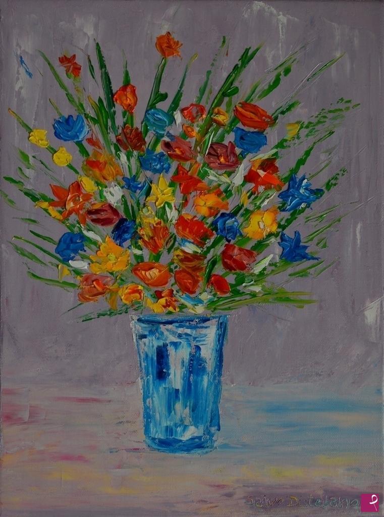 Vendita quadro vaso di fiori salvo distefano pitturiamo for Immagini di fiori dipinti