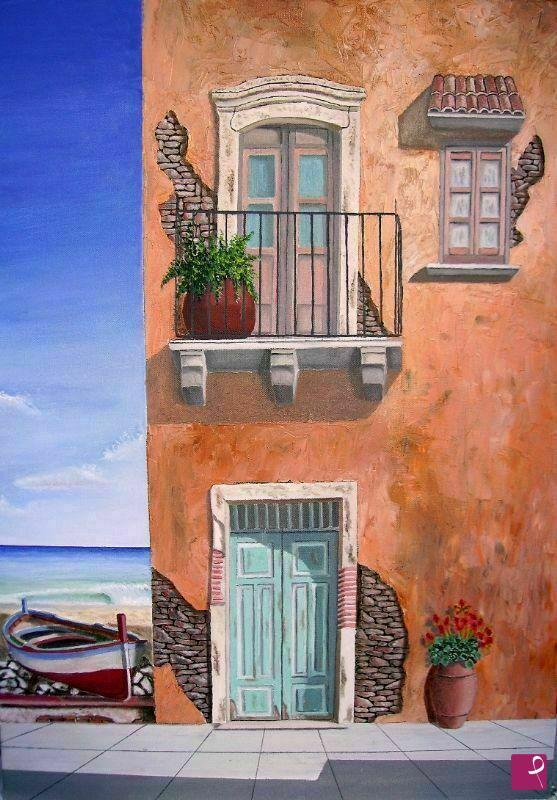 Vendita quadro vecchia casa al mare damiano messina - Quadri per casa mare ...