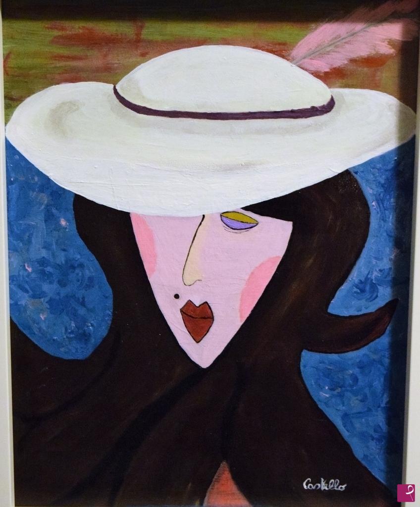 Vendita Quadro Viso Stilizzato Con Cappello Bianco Francesco